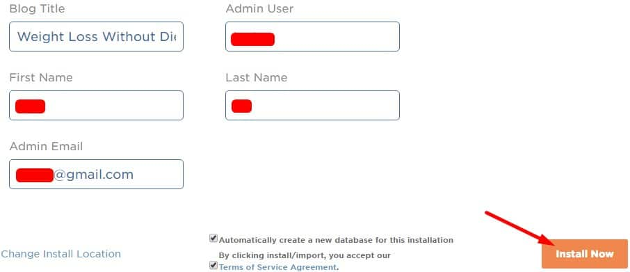 6.Fill in details and install