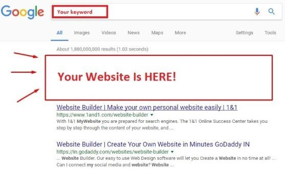 SEO_website on 1st page of Google image